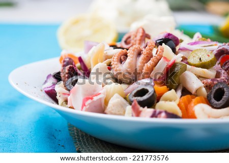 Dieting fresh seafood salad - stock photo