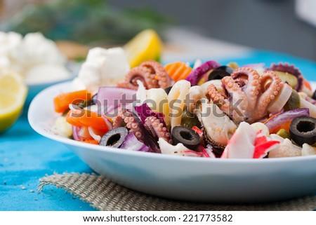 Dieting fresh seafood salad - stock photo