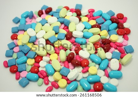 diferent tablets pills mix therapy drugs doctor flu antibiotic pharmacy medicine medical - stock photo