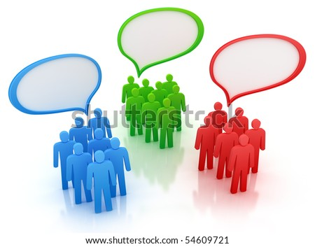 Diferent views of people group . Colored characters isolated on white - stock photo