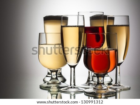 difference glasses of wine on white background - stock photo