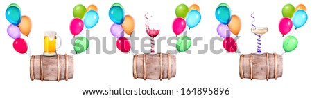 different alcohol drinks and balloons set - wine, beer, champagne - stock photo