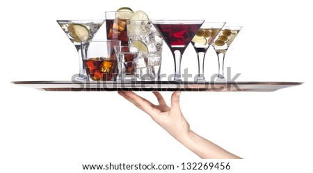 different alcohol drinks on a tray -cocktail,champagne,wine,whiskey,cola - stock photo