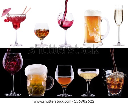 different alcohol drinks set  - beer, wine, champagne, scotch, soda - stock photo