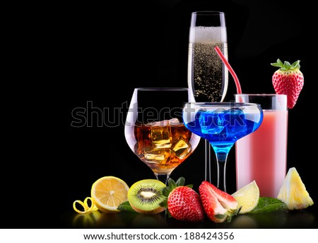 different alcohol drinks set  - beer, wine, cocktail, juice, champagne, scotch, soda - stock photo