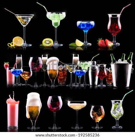 different alcohol drinks set  - beer, wine, cocktail,juice, champagne, scotch, soda - stock photo