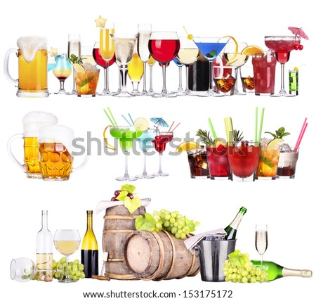 different  alcohol drinks set isolated- beer, martini, cola, scotch, champagne, wine, juice - stock photo