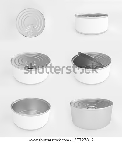 Different angles of open and closed tuna cans - stock photo