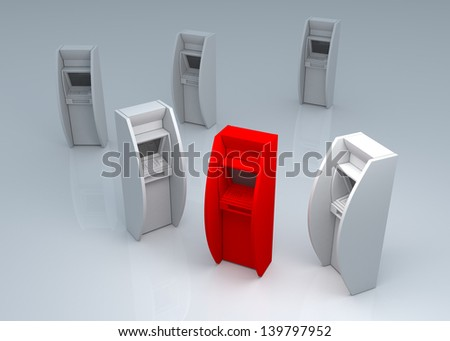 different ATM service - stock photo