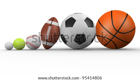 Different ball.  The football, rugby, baseball, golf, tennis and basketball. 3d render