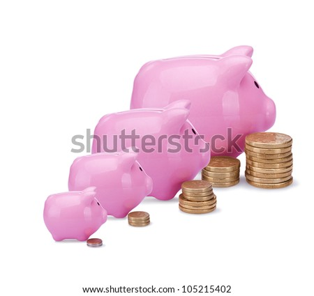 Different banks - different money. Conceptual image with piggy  banks and  coins isolated on white