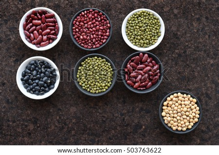 Different beans, peas, lentils for background