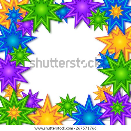 Different beautiful color stars on white background create a wallpaper.