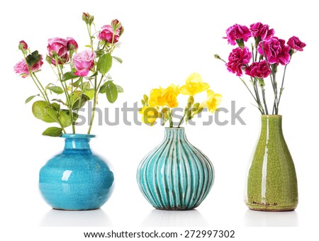 Different beautiful flowers in vases isolated on white - stock photo