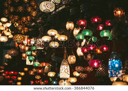 different beautiful Turkish-style lamps on the market
