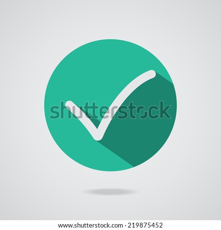 Different black check mark or tick in circle conceptual of confirmation acceptance positive passed voting agreement true or completion of task on a list. Flat illustration - stock photo