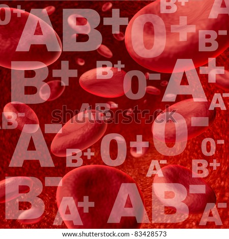 Different blood group and types representing red blood cells flowing through veins and human circulatory system for donors and recipients of transfusions for emergency surgery at a hospital clinic. - stock photo