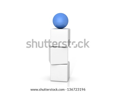 Different blue ball on white background - stock photo