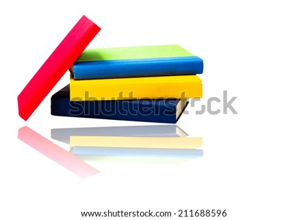Different Books Isolated on White with Reflection - stock photo