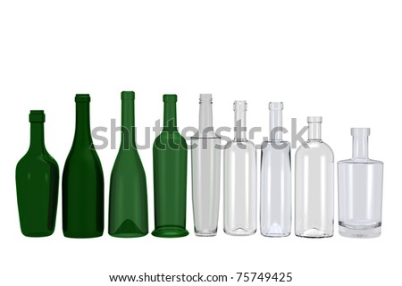 different bottle shapes isolated on white background