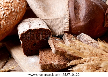 Different bread on table close-up - stock photo