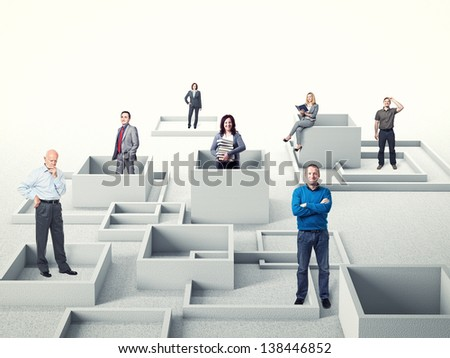 different business people on 3d abstract background - stock photo