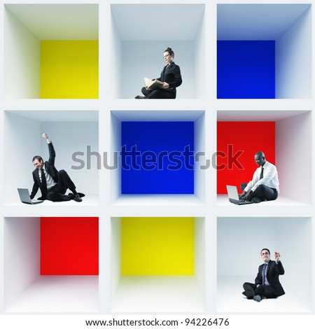 different businesspeople sit in 3d box - stock photo