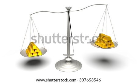 Different carat gold pieces. Multiple gold bars of different weights. Ultra High Definition rendered illustration of scales weighing fake and real gold ingots.
