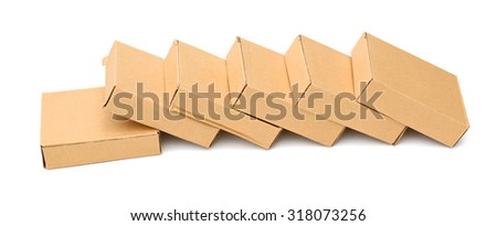 different cardboard boxes on white