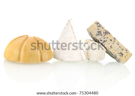 Different cheese sorts isolated on white background. Cheese variation. - stock photo