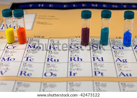 Different chemical compounds on a periodic table - stock photo