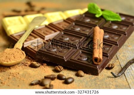 Different chocolate bars : dark,milk and white. - stock photo