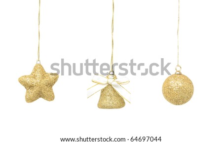 Different Christmas baubles, isolated on white - stock photo