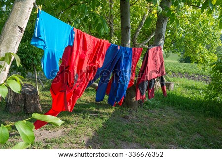 Different color clothes hanging on line in green garden