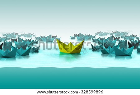 Different color paper boat, Different thinking concept - stock photo