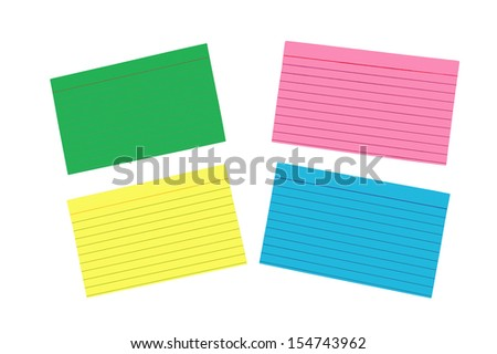Different Colored Blank Index Cards/ Isolated On White Background/ Horizontal Shot  - stock photo