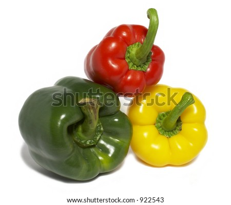 Different colored peppers pyramid