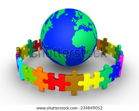 Different colored puzzle pieces connected around globe - stock photo
