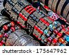 Different colored trinkets displayed in the waiting customers. - stock photo
