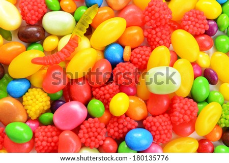 Different colorful fruit candy close-up - stock photo