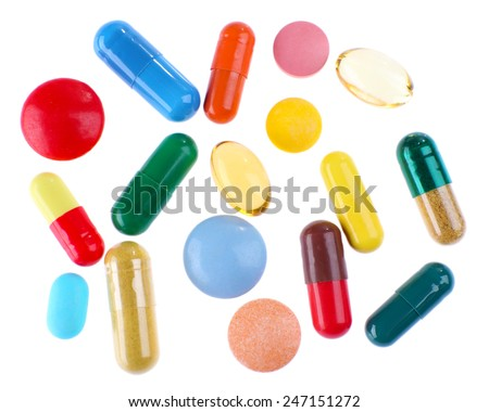 Different colorful pills isolated on white background