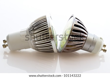 different cooling LED GU10 bulbs with more powerful chips, new  cooling technology depending on the lamp power - stock photo