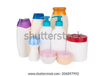 different cosmetic products for personal care isolated on white background - stock photo