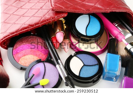 Different cosmetics in cosmetician close up - stock photo