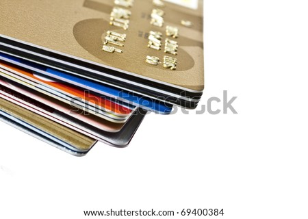 Different credit Cards closeup on white background - stock photo