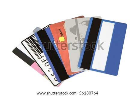 different credit cards found in a wallet - stock photo