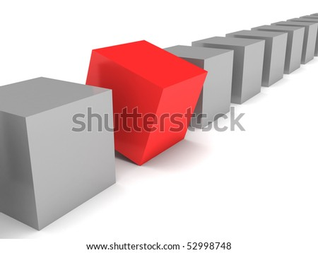 Different cube. Grey cubes and red cube isolated on white background. High quality 3d render. - stock photo