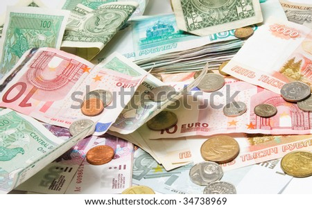 Different currency. Available money of different nations