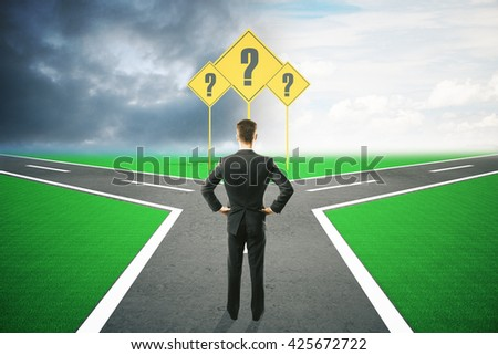 Different direction concept with question mark signs and businessman choosing between different roads under dull and bright skies. 3D Rendering - stock photo