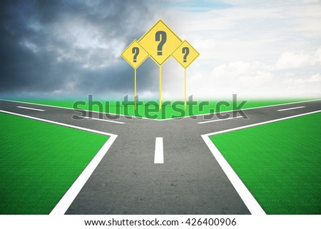 Different direction concept with question mark signs and road splitting into two under dull and bright skies. 3D Rendering - stock photo